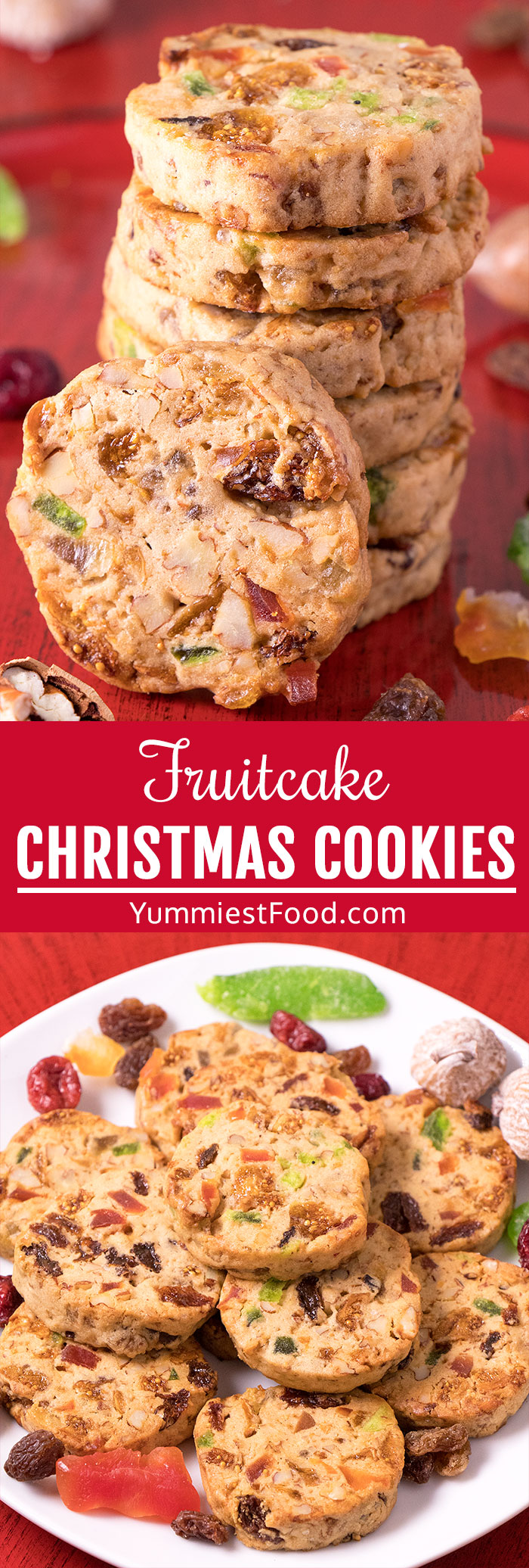 Fruitcake Christmas Cookies - These pretty, chewy and delicious Fruitcake Christmas Cookies, fruit rich and nut filled, with a hint of cinnamon and cloves, will surely be one of your favorite Fruitcake Cookies. #christmas #xmas #christmasrecipes #christmasdesserts #desserts #dessert #dessertrecipes #dessertfoodrecipes #cookies #easycookies #cookierecipe #christmascookies #fruitcakecookies
