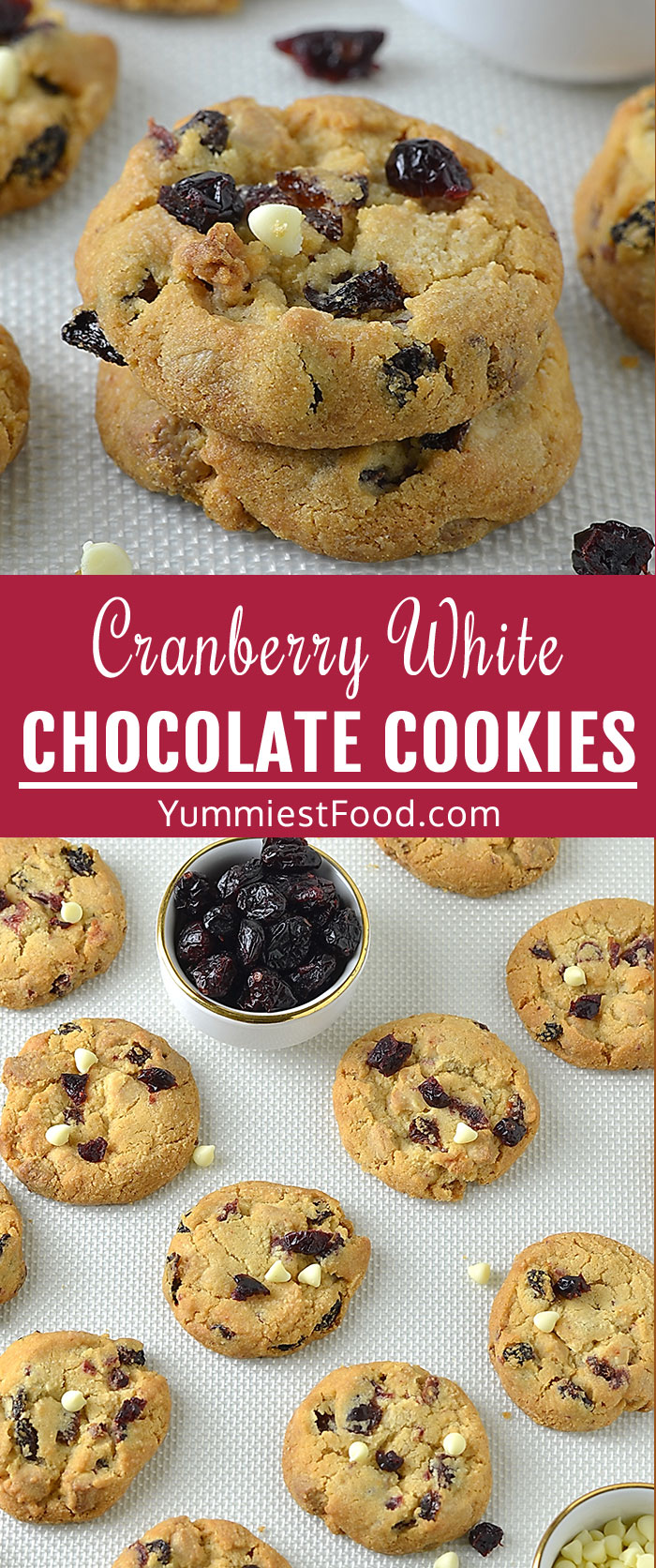 Cranberry White Chocolate Cookies is soft, tender and chewy, they are puffy and golden with lots of buttery vanilla flavor and studded with tart cranberries and sweet white chocolate chips! #christmas #christmasrecipes #chocolate #desserts #dessertrecipes #cookies #easycookies