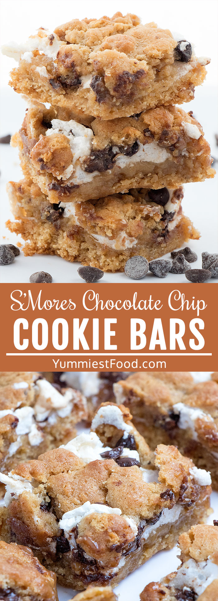 S'Mores Chocolate Chip Cookie Bars are one of the sweet treats perfect for a crowd or parties! Easy delicious dessert with graham crackers, chocolate chips and homemade marshmallow cream. #desserts #dessert #dessertrecipes #dessertfoodrecipes #easyrecipes #potluck #chocolate #chocolatechip #bars #barsrecipes #cookiebars