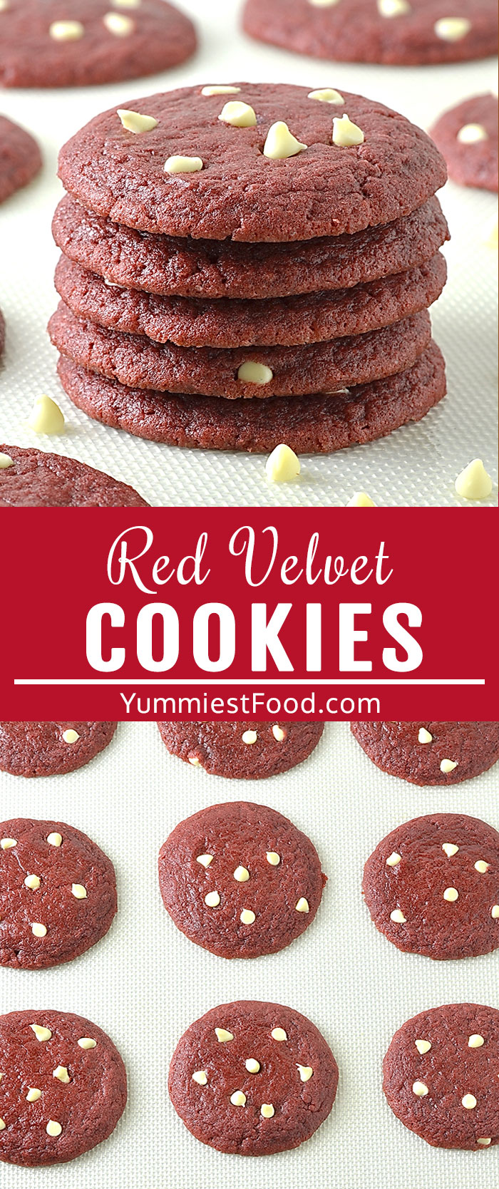Red Velvet White Chocolate Chip Cookies is a special recipe for a special occasion Valentine's Day! They turn out soft and chewy with a beautiful red color makes them perfect for Valentine's Day or whenever you are craving red velvet! #valentines #valentinesday #valentinesfood #valentinestreats #desserts #valentinescookies #cookies #easycookies #redvelvetcookies