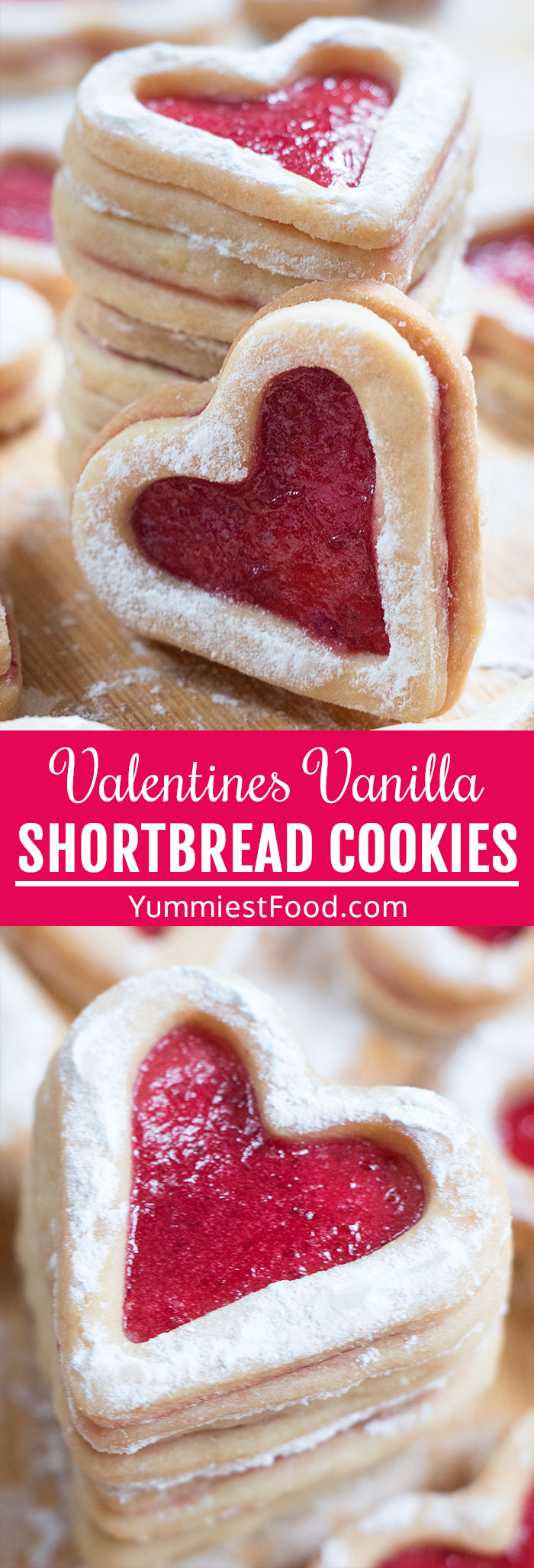 These cute Valentines Vanilla Shortbread Cookies are perfect recipe idea to make for him this Valentine's Day! 5-ingredient, easy, cute and delicious, buttery heart shaped sandwich cookie with a jam filling that melts in the mouth! #valentines #valentinesday #valentinesfood #valentinestreats #valentinescookies #heartcookies #cookies #easycookies #vanillacookies #shortbread #shortbreadcookies