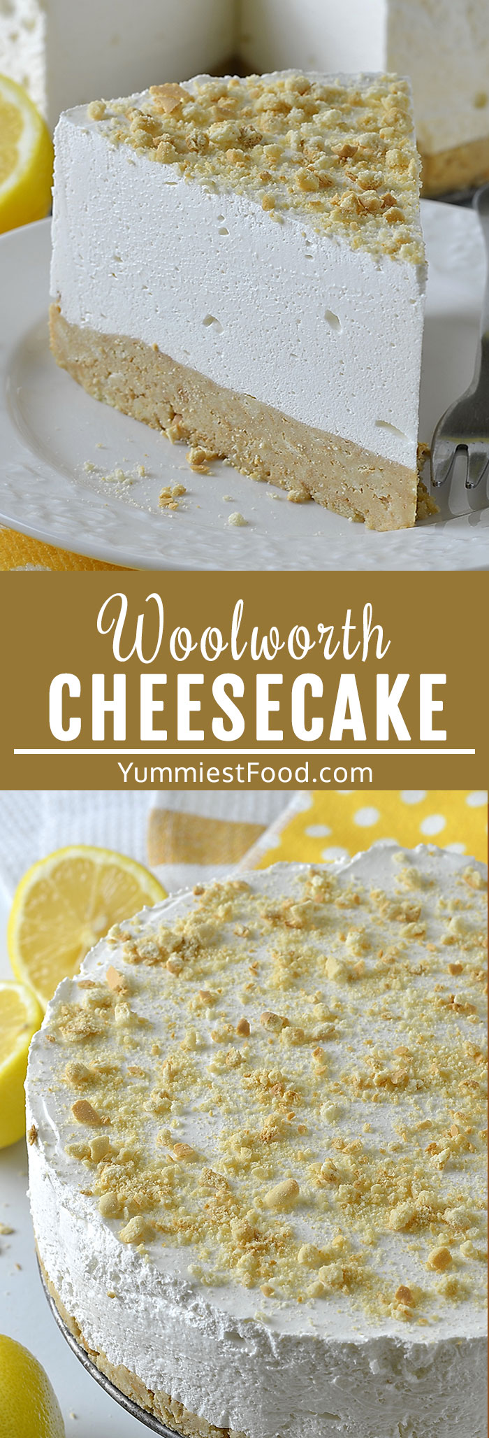 Old Fashioned Woolworth Cheesecake is classic No Bake dessert with graham cracker crust and creamy, light cheesecake full of lemon flavor! #dessertrecipes #dessertfoodrecipes #cheesecakerecipes #cheesecake