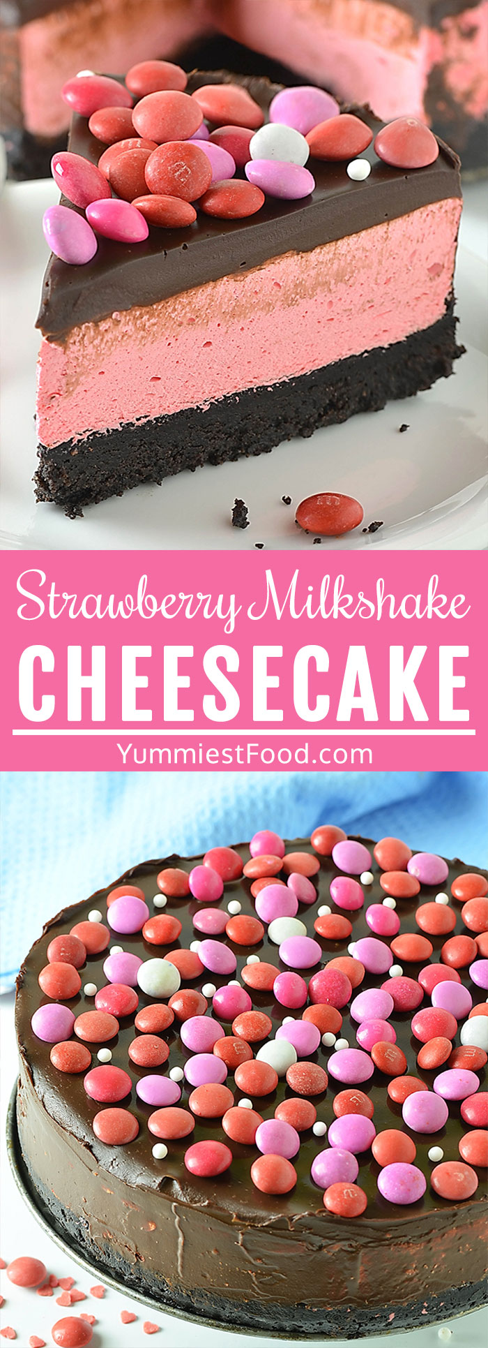 No Bake Strawberry Milkshake Cheesecake is creamy, smooth, bursting with strawberry flavor cheesecake with festive M&M's worthy of any occasion! This gorgeous pink beauty is the perfect choice of cake for Valentine's Day! #valentines #valentinesday #valentinesfood #valentinestreats #cheesecakerecipes #cheesecake
