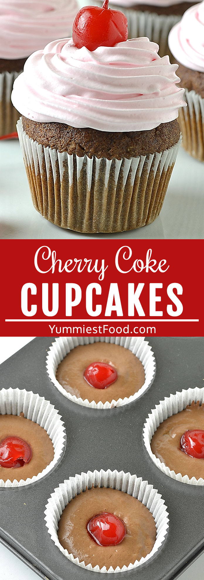 Cherry Coke Cupcakes are a cupcake with all the tasty flavors of cherry coke in a cupcake form! Cherry Coke Cupcakes are fun and delicious dessert and a big hit at any party! #desserts #dessertrecipes #easyrecipes #cupcakes