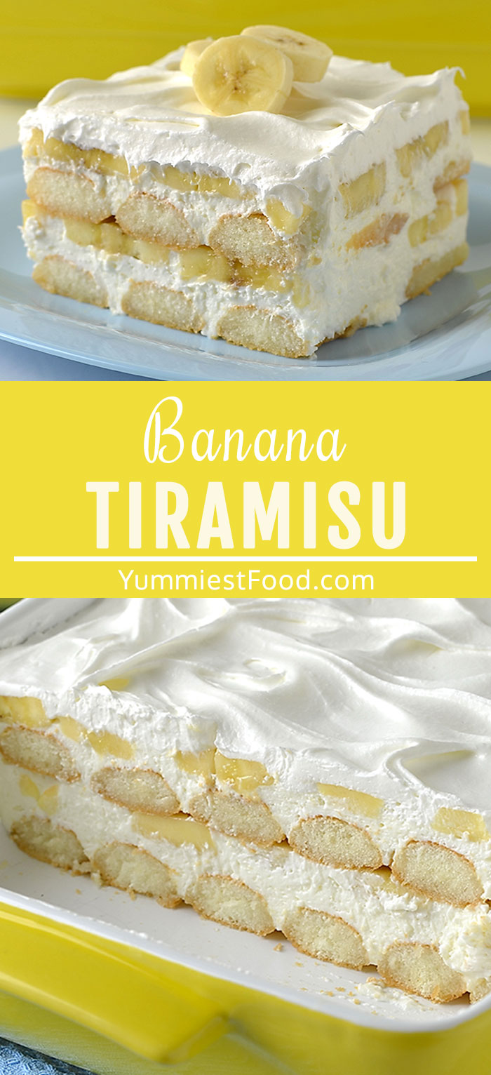 This easy Banana Tiramisu dessert is layered with ladyfingers, creamy mascarpone cheese, sliced bananas and topped with cool whip! Amazing no-bake treat, perfect for any holiday or potluck! #desserts #dessertrecipes #easyrecipes