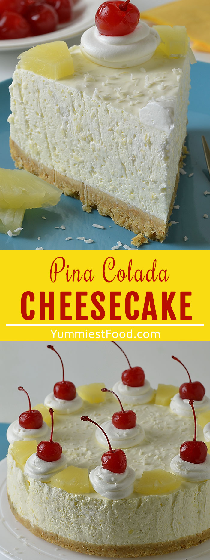Piña Colada Cheesecake is a quick and easy dessert recipe for a refreshing summer sweet treat! Pineapple, coconut, and rum all the flavors of your favorite tropical cocktail in a delicious dessert form! #desserts #dessertrecipes #easyrecipes #cheesecakerecipes #cheesecake