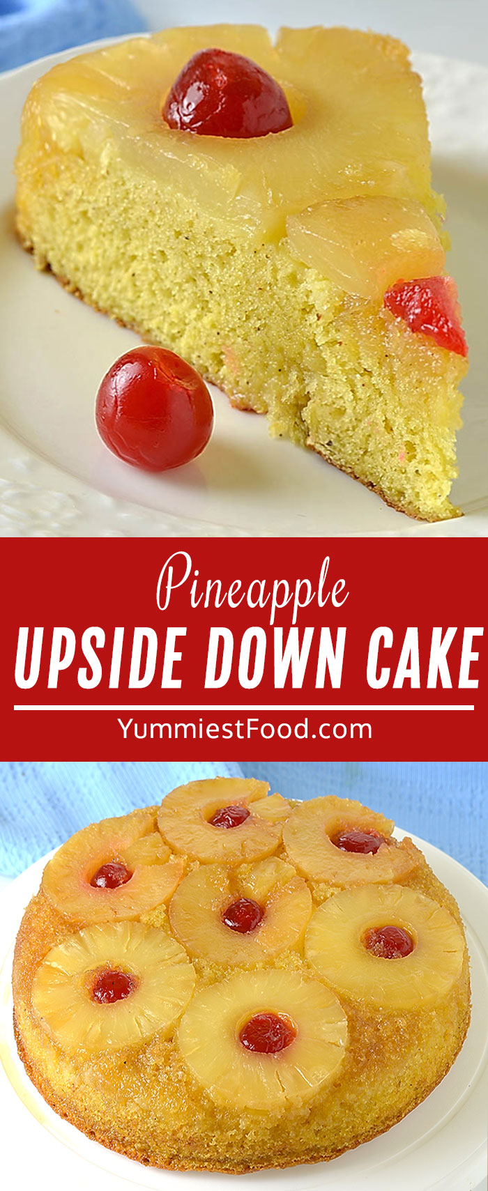 Pineapple Upside-Down Cake is a simple, sweet dessert with an easy buttery homemade cake topped with delicious caramelized pineapple toping and even a cherry on top! Perfect spring and summer dessert! #desserts #dessertrecipes #easyrecipes #cake