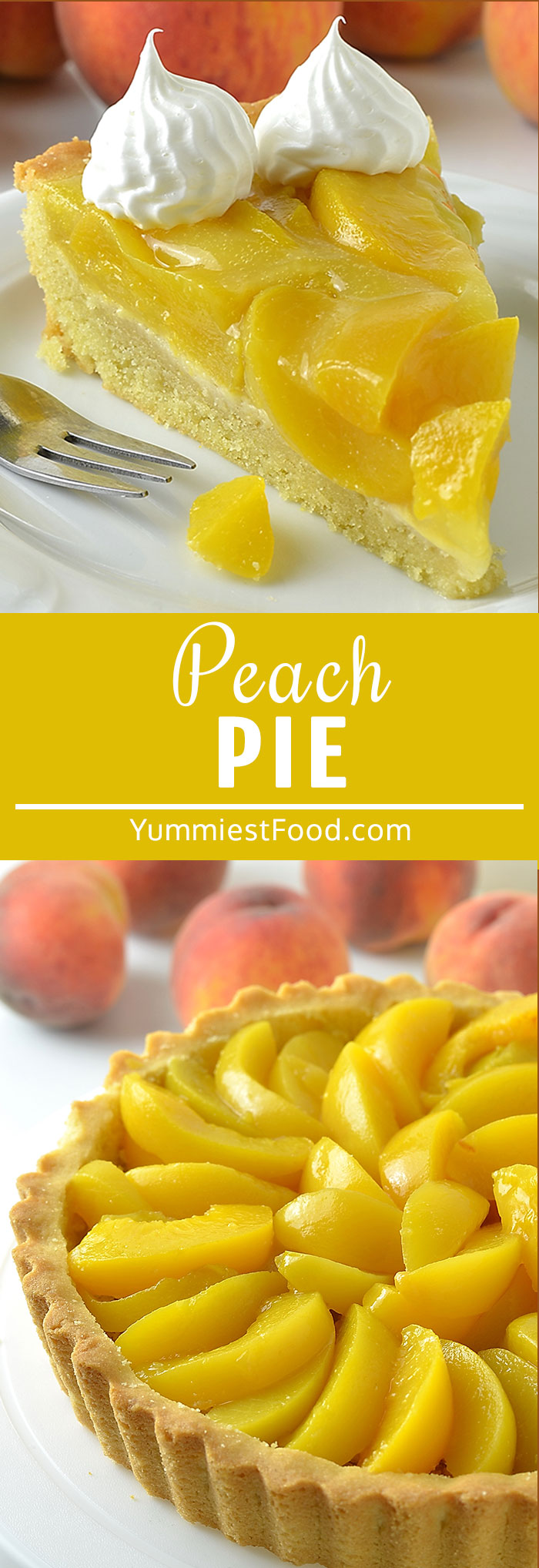 Peach Pie is sweet, creamy and so delicious dessert perfect for any time of the year! Make it with pastry shell, fresh or canned peaches, Peach Jell-O and topped with whipped cream!